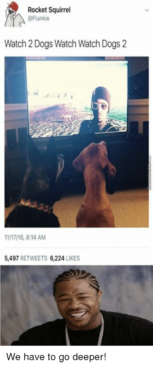 Memes, Squirrel, and 🤖: Rocket Squirrel  @Flunkie  Watch Dogs Watch Watch Dogs 2  1117/16, 8:14 AM  5,497  RETWEETS 6,224  LIKES We have to go deeper!