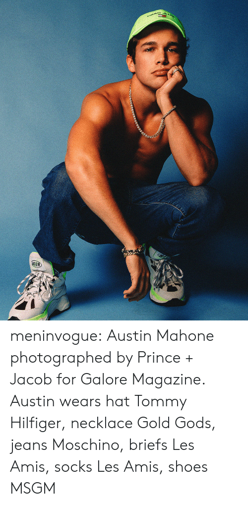 tommy: rOMMY  MSGM meninvogue:  Austin Mahone photographed by Prince + Jacob for Galore Magazine. Austin wears hat Tommy Hilfiger, necklace Gold Gods, jeans Moschino, briefs Les Amis, socks Les Amis, shoes MSGM