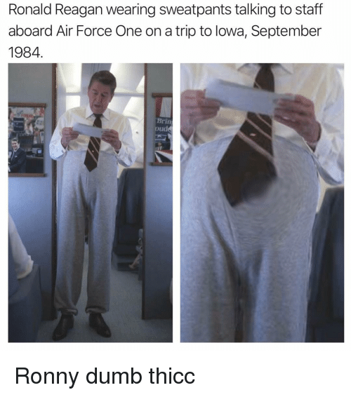 air force one: Ronald Reagan wearing sweatpants talking to staff  aboard Air Force One on a trip to lowa, September  1984  Brin  oude Ronny dumb thicc