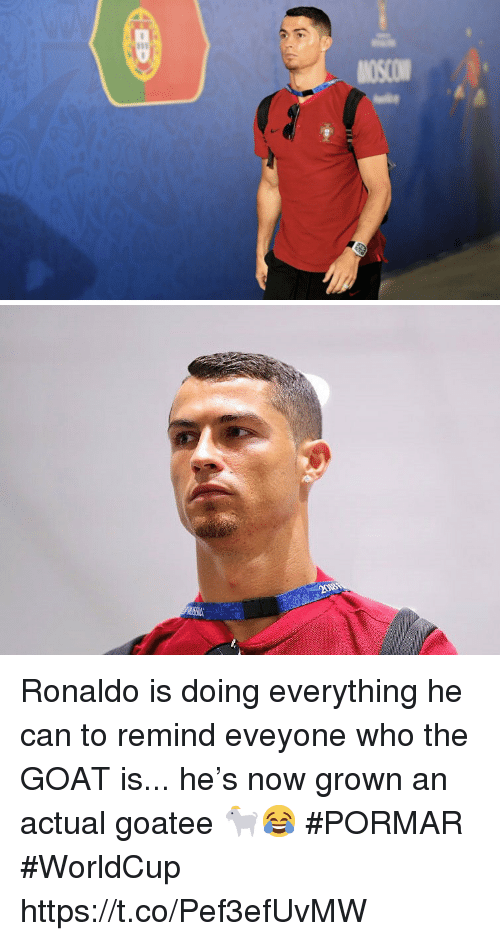 Soccer, Goat, and Ronaldo: Ronaldo is doing everything he can to remind eveyone who the GOAT is... he's now grown an actual goatee 🐐😂 #PORMAR #WorldCup https://t.co/Pef3efUvMW