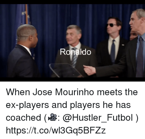 hustler: Ronaldo When Jose Mourinho meets the ex-players and players he has coached (🎥: @Hustler_Futbol )  https://t.co/wl3Gq5BFZz