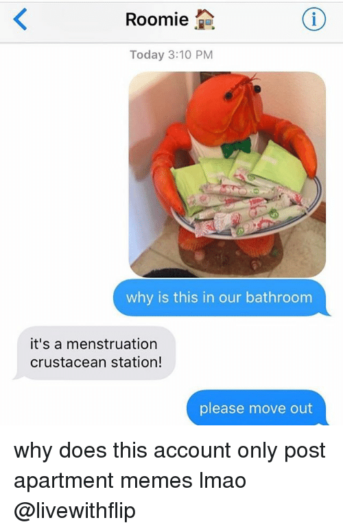 Lmao, Memes, and Today: Roomie  2a  Today 3:10 PM  why is this in our bathroom  it's a menstruation  crustacean station!  please move out why does this account only post apartment memes lmao @livewithflip