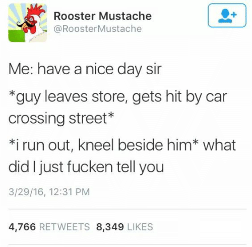 Run, Nice, and Car: Rooster Mustache  @RoosterMustache  Me: have a nice day sir  *guy leaves store, gets hit by car  crossing street*  *i run out, kneel beside him* what  did I just fucken tell you  3/29/16, 12:31 PM  4,766 RETWEETS 8,349 LIKES