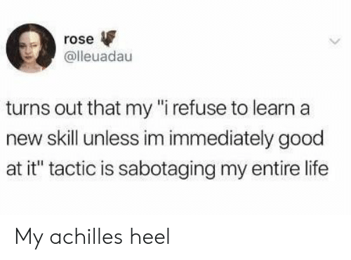 "heel: rose  @lleuadau  turns out that my ""i refuse to learn a  new skill unless im immediately good  at it"" tactic is sabotaging my entire life My achilles heel"