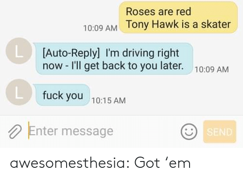 Driving, Fuck You, and Tony Hawk: Roses are red  10:09 AM Tony Hawk is a skater  L Auto-Reply] I'm driving right  now -I'll get back to you later.  10:09 AM  fuck you  10:15 AM  Enter message  SEND awesomesthesia:  Got 'em