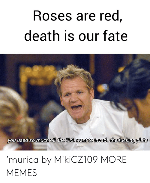 Dank, Fucking, and Memes: Roses are red,  death is our fate  you used so much oil, the U.S want to invade the fucking plate 'murica by MikiCZ109 MORE MEMES