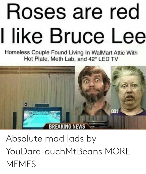 """lads: Roses are red  I like Bruce Lee  Homeless Couple Found Living In WalMart Attic With  Hot Plate, Meth Lab, and 42"""" LED TV  001  BREAKING NEWS Absolute mad lads by YouDareTouchMtBeans MORE MEMES"""