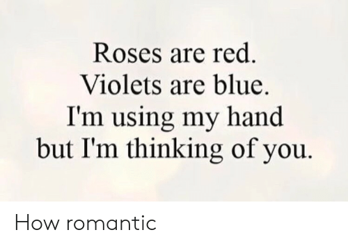 Blue, How, and Red: Roses are red.  Violets are blue.  I'm using my hand  but I'm thinking of you How romantic