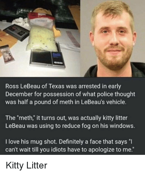 "Definitely, Love, and Police: Ross LeBeau of Texas was arrested in early  December for possession of what police thought  was half a pound of meth in LeBeau's vehicle.  The ""meth,"" it turns out, was actually kitty litter  LeBeau was using to reduce fog on his windows.  I love his mug shot. Definitely a face that says ""I  can't wait till you idiots have to apologize to me."" Kitty Litter"