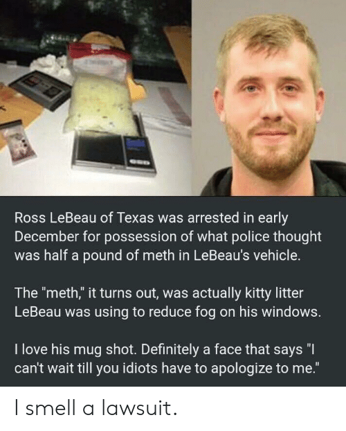 "Definitely, Love, and Police: Ross LeBeau of Texas was arrested in early  December for possession of what police thought  was half a pound of meth in LeBeau's vehicle.  The ""meth,"" it turns out, was actually kitty litter  LeBeau was using to reduce fog on his windows.  I love his mug shot. Definitely a face that says ""I  can't wait till you idiots have to apologize to me."" I smell a lawsuit."