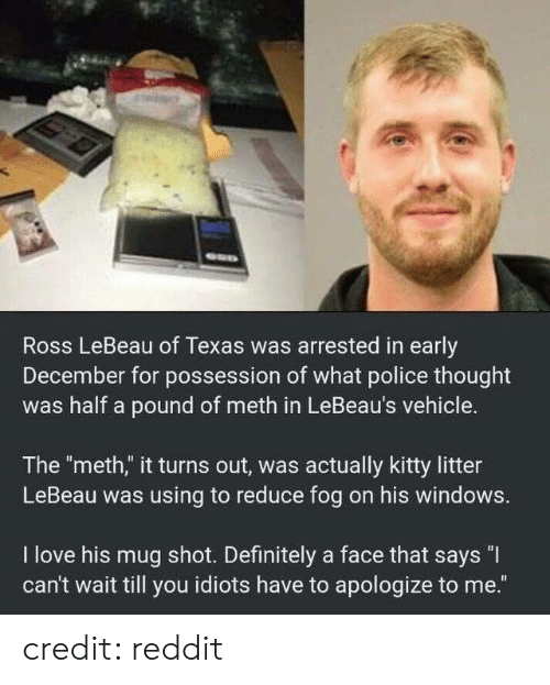 """Litter: Ross LeBeau of Texas was arrested in early  December for possession of what police thought  was half a pound of meth in LeBeau's vehicle.  The """"meth,"""" it turns out, was actually kitty litter  LeBeau was using to reduce fog on his windows.  I love his mug shot. Definitely a face that says """"I  can't wait till you idiots have to apologize to me."""" credit: reddit"""