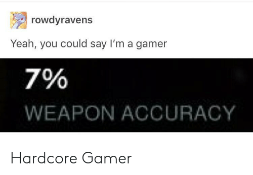 Hardcore Gamer: rowdyravens  Yeah, you could say I'm a gamer  7%  WEAPON ACCURACY Hardcore Gamer