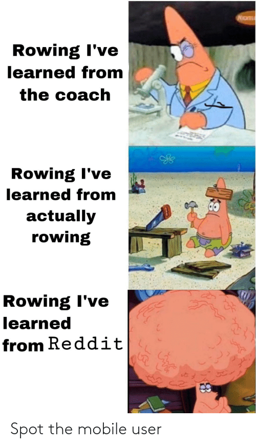 Rowing: Rowing I've  learned from  the coach  Rowing I've  learned from  actually  rowing  Rowing I've  learned  from Reddit Spot the mobile user