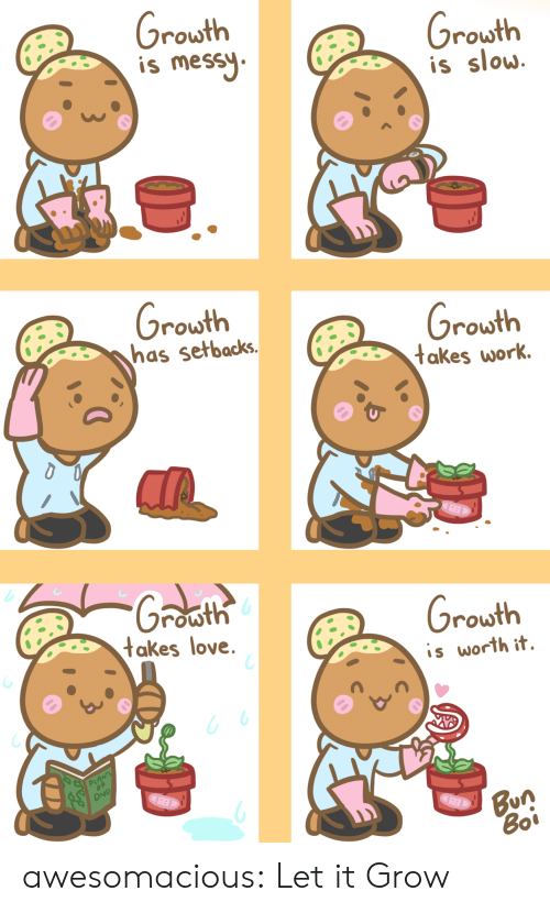 Love, Tumblr, and Work: rowth  is mes  rowth  is slow  rowth  nhas setbacks.  rowth  takes work  row  takes love  rowth  is worth it.  PL  Bun awesomacious:  Let it Grow