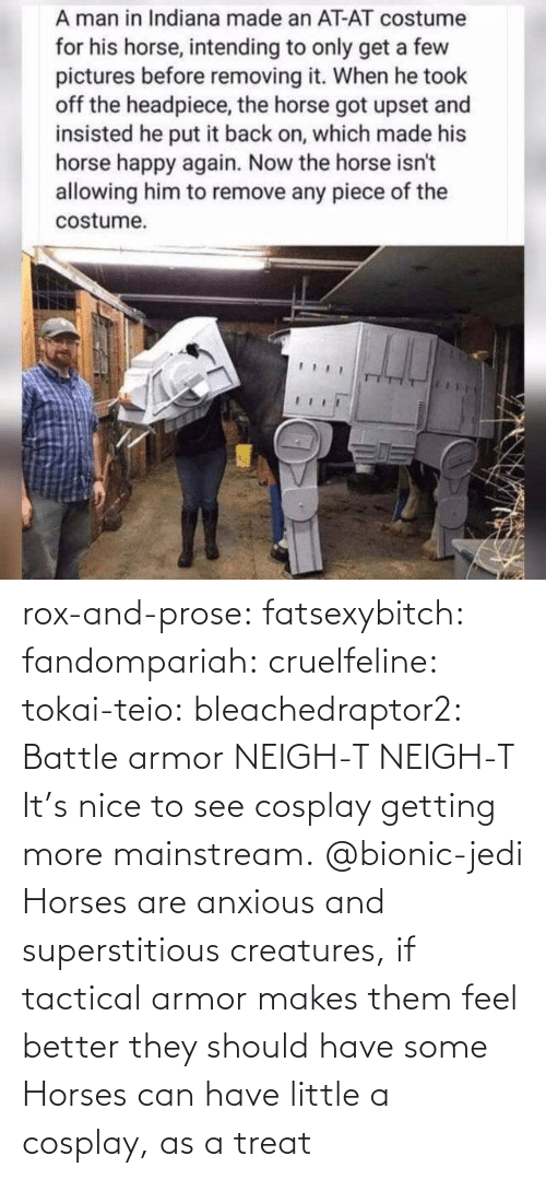 feel better: rox-and-prose:  fatsexybitch:   fandompariah:  cruelfeline:  tokai-teio:  bleachedraptor2: Battle armor    NEIGH-T  NEIGH-T    It's nice to see cosplay getting more mainstream.    @bionic-jedi     Horses are anxious and superstitious creatures, if tactical armor makes them feel better they should have some    Horses can have little a cosplay, as a treat