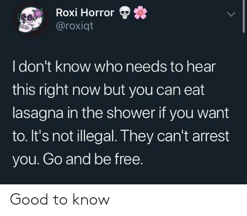 Idont Know: Roxi Horror  @roxiqt  Idon't know who needs to hear  this right now but you can eat  lasagna in the shower if you want  to. It's not illegal. They can't arrest  you. Go and be free. Good to know
