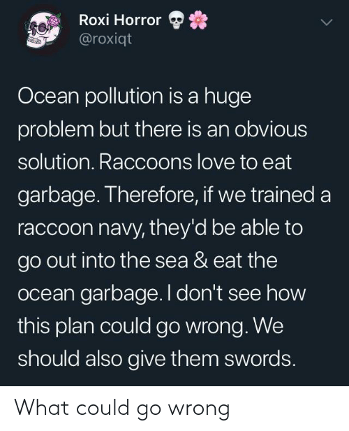 Love, Navy, and Ocean: Roxi Horror  @roxiqt  Ocean pollution is a huge  problem but there is an obvious  solution. Raccoons love to eat  garbage. Therefore, if we trained a  raccoon navy, they'd be able to  go out into the sea & eat the  ocean garbage. I don't see how  this plan could go wrong. We  should also give them swords. What could go wrong