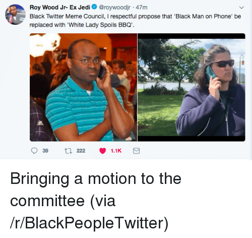 Black Man on Phone, Blackpeopletwitter, and Jedi: Roy Wood Jr- Ex Jedi @roywoodjr 47m  Black Twitter Meme Council, I respectful propose that 'Black Man on Phone' be  replaced with White Lady Spoils BBQ.  チ <p>Bringing a motion to the committee (via /r/BlackPeopleTwitter)</p>