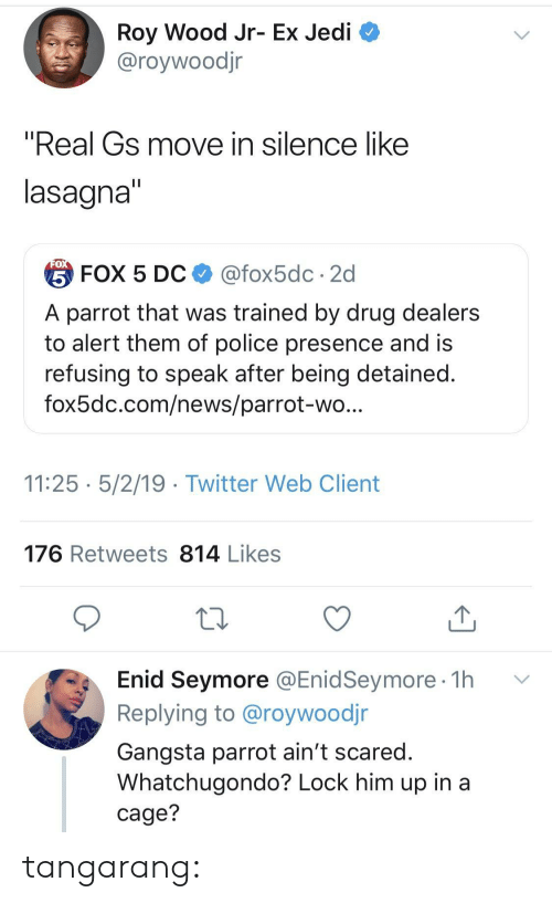 """Lasagna: Roy Wood Jr- Ex Jedi  @roywoodjr  """"Real Gs move in silence like  lasagna  台FOX 5 DC $ @fox5dc . 2d  A parrot that was trained by drug dealers  to alert them of police presence and is  refusing to speak after being detained  fox5dc.com/news/parrot-wo  11:25 5/2/19 - Twitter Web Client  176 Retweets 814 Likes  Enid Seymore @EnidSeymore 1h v  Replying to @roywoodjr  Gangsta parrot ain't scared  Whatchugondo? Lock him up in a  cage? tangarang:"""