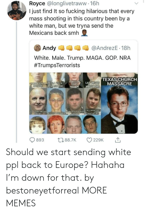 gop: Royce @longlivetraww 16h  I just find It so fucking hilarious that every  mass shooting in this country been by a  white man, but we tryna send the  Mexicans back smh  Andy  @AndrezE 18h  White. Male. Trump. MAGA. GOP. NRA  #TrumpsTerrorists  TEXAS CHURCH  MASSACRE  CHARLESTON  CHURCH  MASSA  LAS VEGAS  MASSACRE  ISLA CISTA  MASSACRE  FARERY SOHO  SACKE  TALLAHASSES  MASAGRE  jHAO LENAT  ZON  AUSTIN BOMBER  893  t188.7K  229K  10 Should we start sending white ppl back to Europe? Hahaha I'm down for that. by bestoneyetforreal MORE MEMES