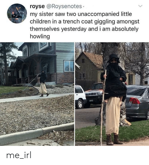 Children, Saw, and Irl: royse @Roysenotes  my sister saw two unaccompanied little  children in a trench coat giggling amongst  themselves yesterday and i am absolutely  howling me_irl