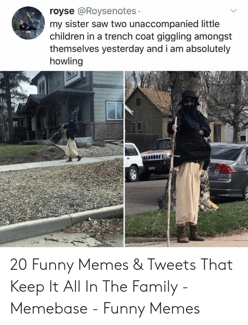 howling: royse @Roysenotes  my sister saw two unaccompanied little  children in a trench coat giggling amongst  themselves yesterday and i am absolutely  howling 20 Funny Memes & Tweets That Keep It All In The Family - Memebase - Funny Memes