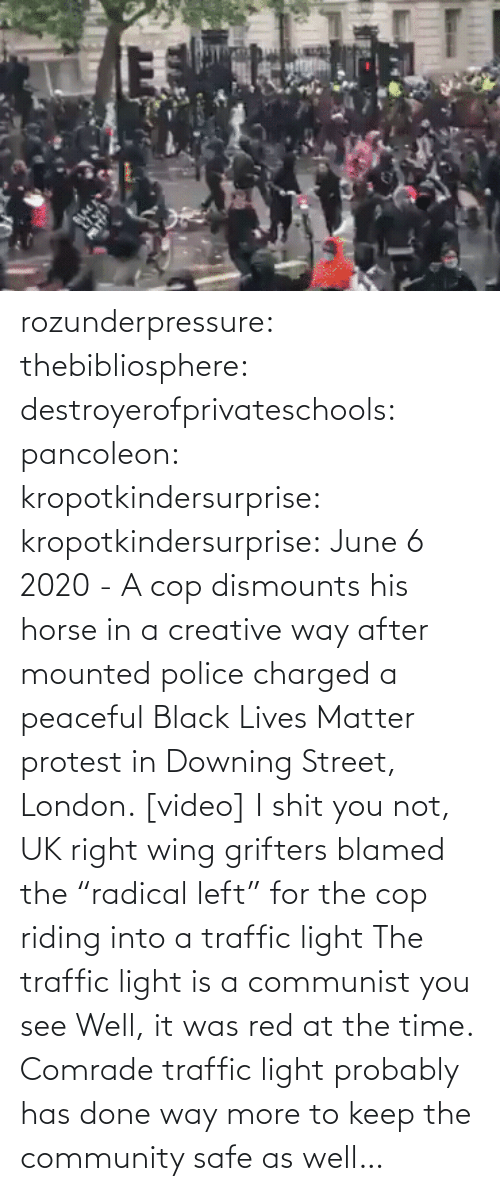"In A: rozunderpressure:  thebibliosphere: destroyerofprivateschools:  pancoleon:   kropotkindersurprise:  kropotkindersurprise: June 6 2020 - A cop dismounts his horse in a creative way after mounted police charged a peaceful Black Lives Matter protest in Downing Street, London. [video]    I shit you not, UK right wing grifters blamed the ""radical left"" for the cop riding into a traffic light    The traffic light is a communist you see    Well, it was red at the time.  Comrade traffic light probably has done way more to keep the community safe as well…"