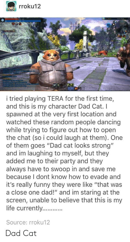 """evade: rroku12  i tried playing TERA for the first time,  and this is my character Dad Cat. I  spawned at the very first location and  watched these random people dancing  while trying to figure out how to opern  the chat (so i could laugh at them). One  of them goes """"Dad cat looks strong""""  and im laughing to myself, but they  added me to their party and they  always have to swoop in and save me  because I dont know how to evade and  it's really funny they were like """"that was  a close one dad!"""" and im staring at the  screen, unable to believe that this is my  life currently....  Source: rroku12 Dad Cat"""