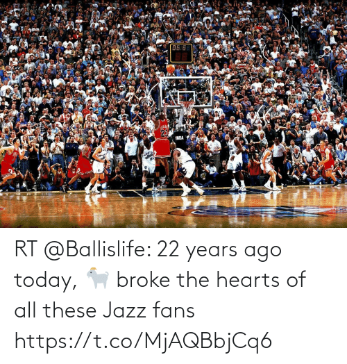 Hearts: RT @Ballislife: 22 years ago today, 🐐 broke the hearts of all these Jazz fans https://t.co/MjAQBbjCq6