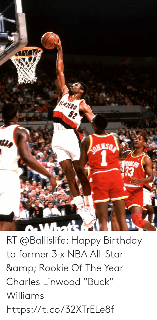 """nba all star: RT @Ballislife: Happy Birthday to former 3 x NBA All-Star & Rookie Of The Year Charles Linwood """"Buck"""" Williams https://t.co/32XTrELe8f"""