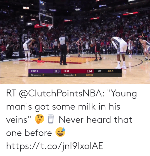 """Young: RT @ClutchPointsNBA: """"Young man's got some milk in his veins"""" 🤔🥛  Never heard that one before 😅 https://t.co/jnl9IxolAE"""