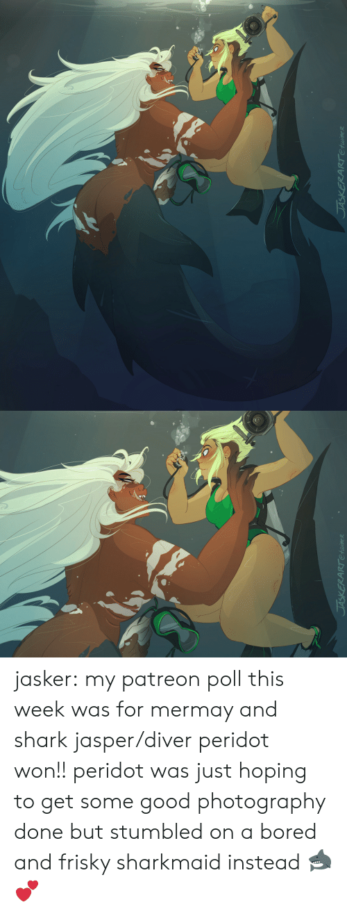 Bored, Tumblr, and Shark: RT Ctwite R   レ jasker:  my patreon poll this week was for mermay and shark jasper/diver peridot won!! peridot was just hoping to get some good photography done but stumbled on a bored and frisky sharkmaid instead 🦈💕