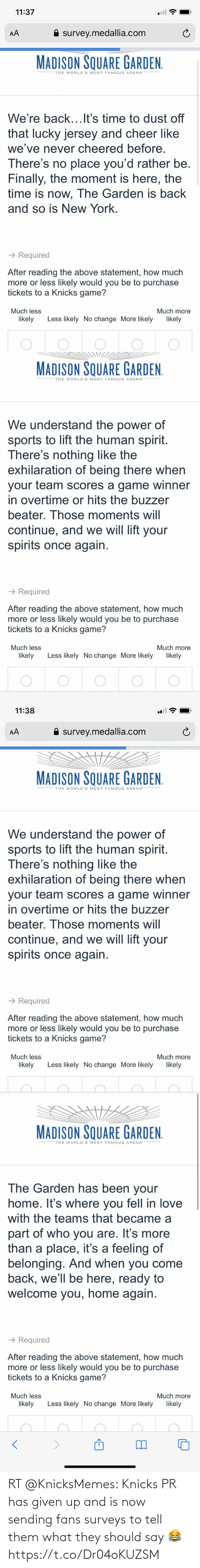 Should: RT @KnicksMemes: Knicks PR has given up and is now sending fans surveys to tell them what they should say 😂 https://t.co/Dr04oKUZSM