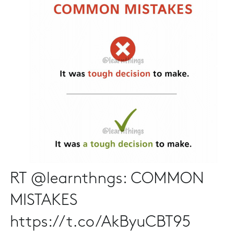 Mistakes: RT @learnthngs: COMMON MISTAKES https://t.co/AkByuCBT95