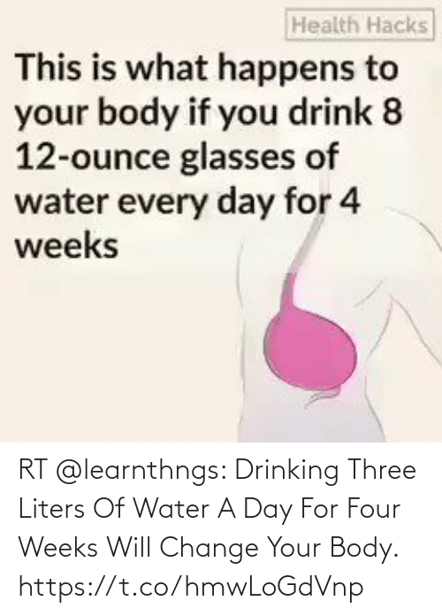 Body: RT @learnthngs: Drinking Three Liters Of Water A Day For Four Weeks Will Change Your Body. https://t.co/hmwLoGdVnp
