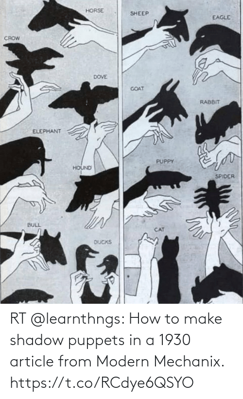 shadow: RT @learnthngs: How to make shadow puppets in a 1930 article from Modern Mechanix. https://t.co/RCdye6QSYO