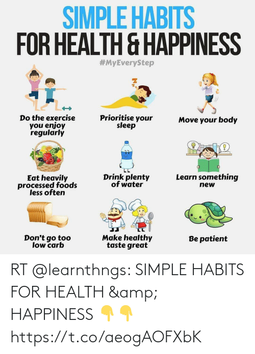 Happiness: RT @learnthngs: SIMPLE HABITS FOR HEALTH & HAPPINESS 👇👇 https://t.co/aeogAOFXbK