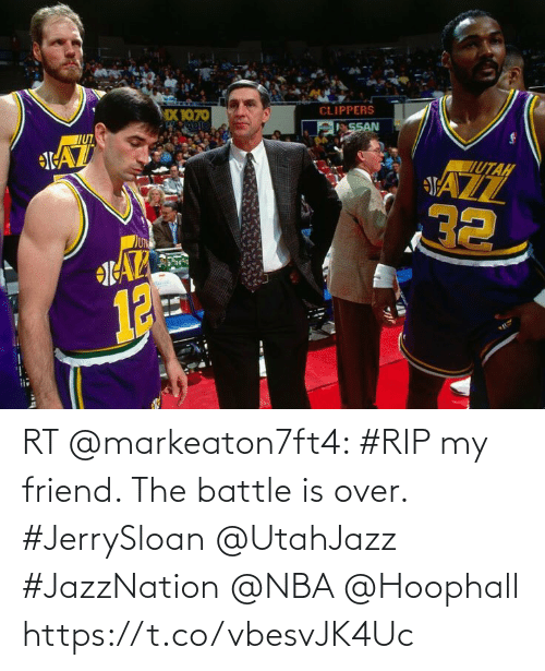 Memes, Nba, and 🤖: RT @markeaton7ft4: #RIP my friend. The battle is over.  #JerrySloan @UtahJazz #JazzNation @NBA @Hoophall https://t.co/vbesvJK4Uc