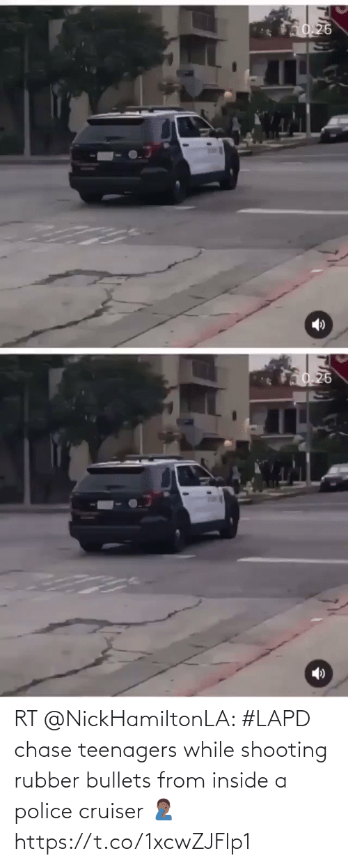 bullets: RT @NickHamiltonLA: #LAPD chase teenagers while shooting rubber bullets from inside a police cruiser 🤦🏾♂️ https://t.co/1xcwZJFlp1