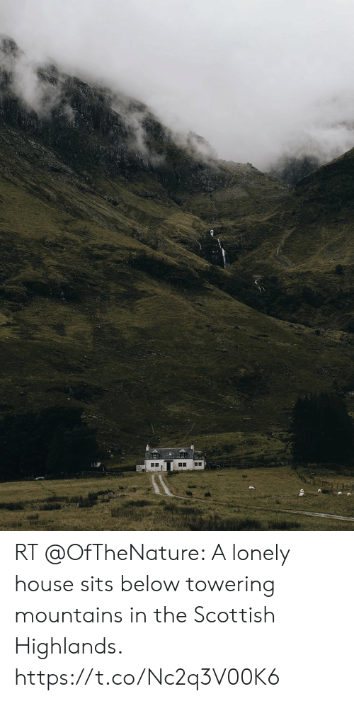 House, Scottish, and Below: RT @OfTheNature: A lonely house sits below towering mountains in the Scottish Highlands. https://t.co/Nc2q3V00K6