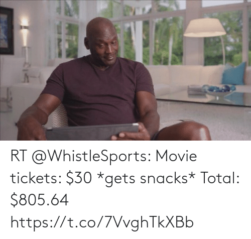 total: RT @WhistleSports: Movie tickets: $30  *gets snacks*  Total: $805.64 https://t.co/7VvghTkXBb