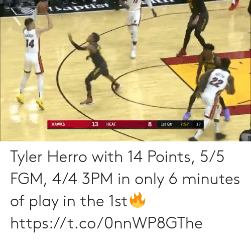 Memes, Hawks, and Heat: rtist  14  22  17  7:57  8  1st Qtr  13  HEAT  HAWKS Tyler Herro with 14 Points, 5/5 FGM, 4/4 3PM in only 6 minutes of play in the 1st🔥 https://t.co/0nnWP8GThe