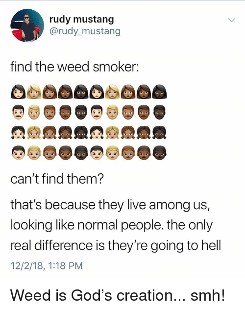 Mustang: rudy mustang  @rudy_mustang  find the weed smoker:  can't find them  that's because they live among us,  looking like normal people. the only  real difference is they re going to hell  12/2/18, 1:18 PM Weed is God's creation... smh!