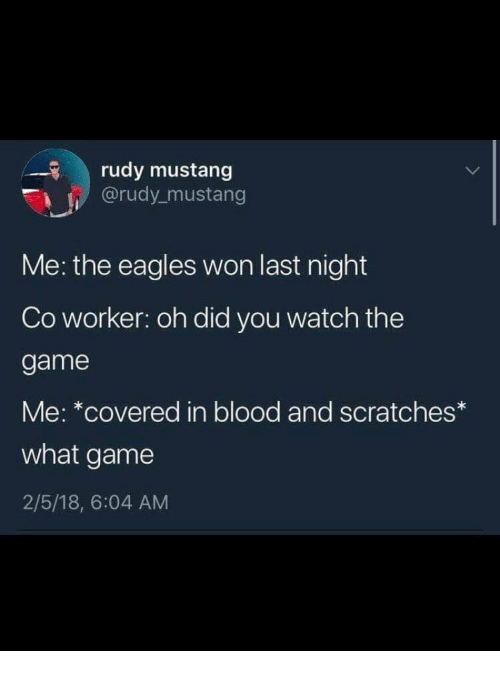Gamely: rudy mustang  @rudy mustang  Me: the eagles won last night  Co worker: oh did you watch the  game  Me: *covered in blood and scratches  what game  2/5/18, 6:04 AM