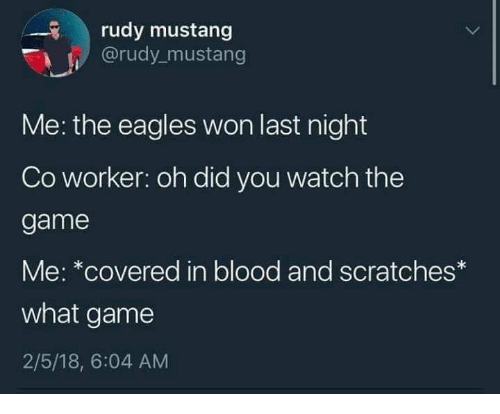 Mustang: rudy mustang  @rudy mustang  Me: the eagles won last night  Co worker: oh did you watch the  game  Me: *covered in blood and scratches*  what game  2/5/18, 6:04 AM