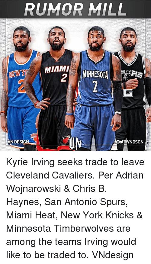 New York Knicks: RUMOR MILL  MIAMI  2  MIAN, MINNESOTA 1  VN DESIGN Kyrie Irving seeks trade to leave Cleveland Cavaliers. Per Adrian Wojnarowski & Chris B. Haynes, San Antonio Spurs, Miami Heat, New York Knicks & Minnesota Timberwolves are among the teams Irving would like to be traded to. VNdesign
