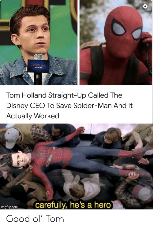 holland: RUNEE  Tom Holland Straight-Up Called The  Disney CEO To Save Spider-Man And It  Actually Worked  carefully, he's a hero)  imgflip.com Good ol' Tom