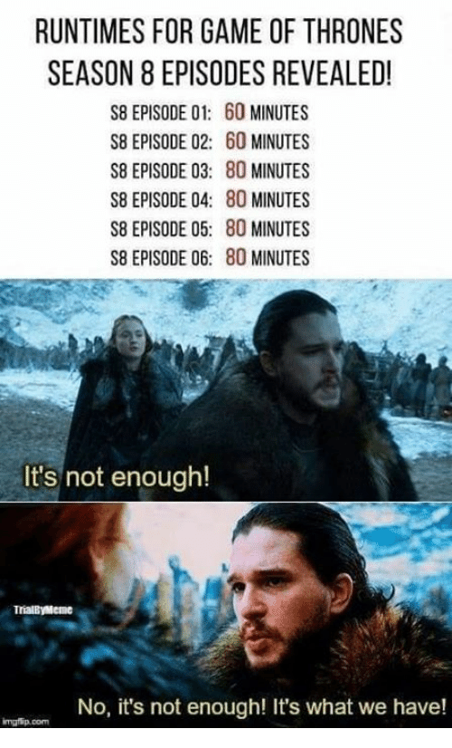 60 minutes: RUNTIMES FOR GAME OF THRONES  SEASON 8 EPISODES REVEALED!  S8 EPISODE 01: 60 MINUTES  S8 EPISODE 02: 60 MINUTES  S8 EPISODE 03: 80 MINUTES  S8 EPISODE 04: 80 MINUTES  S8 EPISODE 05: 80 MINUTES  S8 EPISODE 06: 80 MINUTES  It's not enough!  TrialByMeme  No, it's not enough! It's what we have!  mgfip.com
