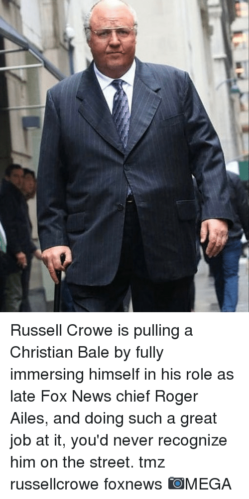 Foxnews: Russell Crowe is pulling a Christian Bale by fully immersing himself in his role as late Fox News chief Roger Ailes, and doing such a great job at it, you'd never recognize him on the street. tmz russellcrowe foxnews 📷MEGA