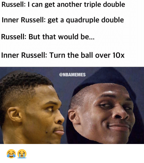 Nba, Triple, and Triple Double: Russell: I can get another triple double  Inner Russell: get a quadruple double  Russell: But that would be.  Inner Russell: Turn the ball over 10x  @NBAMEMES 😂😭